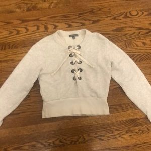 American Eagle Cream Lace/Tie-Up Cropped Sweater